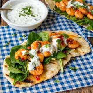 Speedy Flatbreads with Garlic Chilli Shrimp and Greek Yogurt Dip
