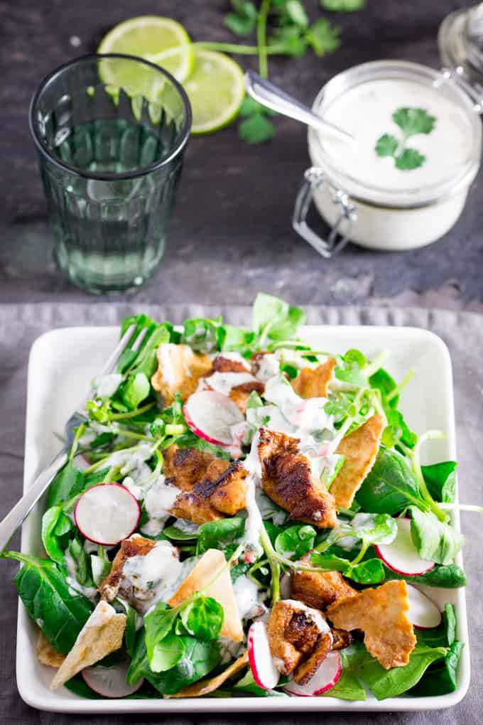 chicken shawarma salad - Spiced, griddled chicken served with a cool salad and a creamy, zesty dressing.