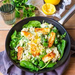 Herby Lemon Risotto with Halloumi