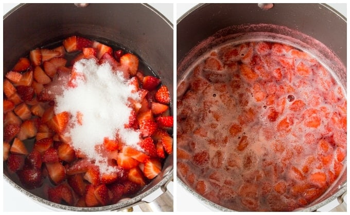 Strawberry Sauce prep collage