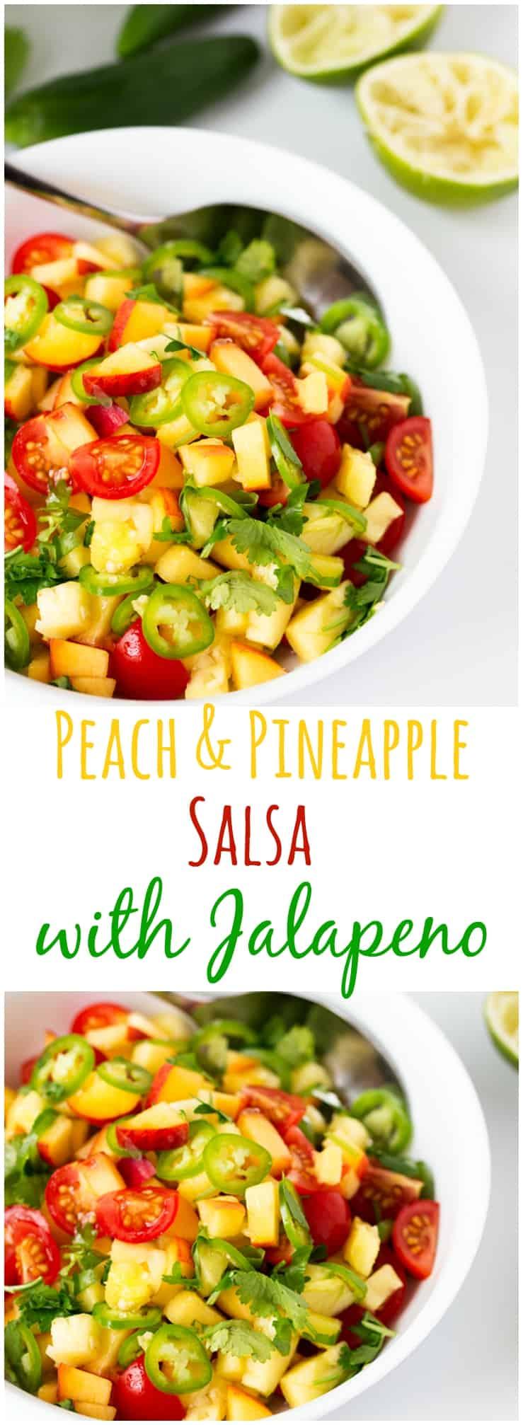 Peach and Pineapple Salsa with a Jalapeño kick.