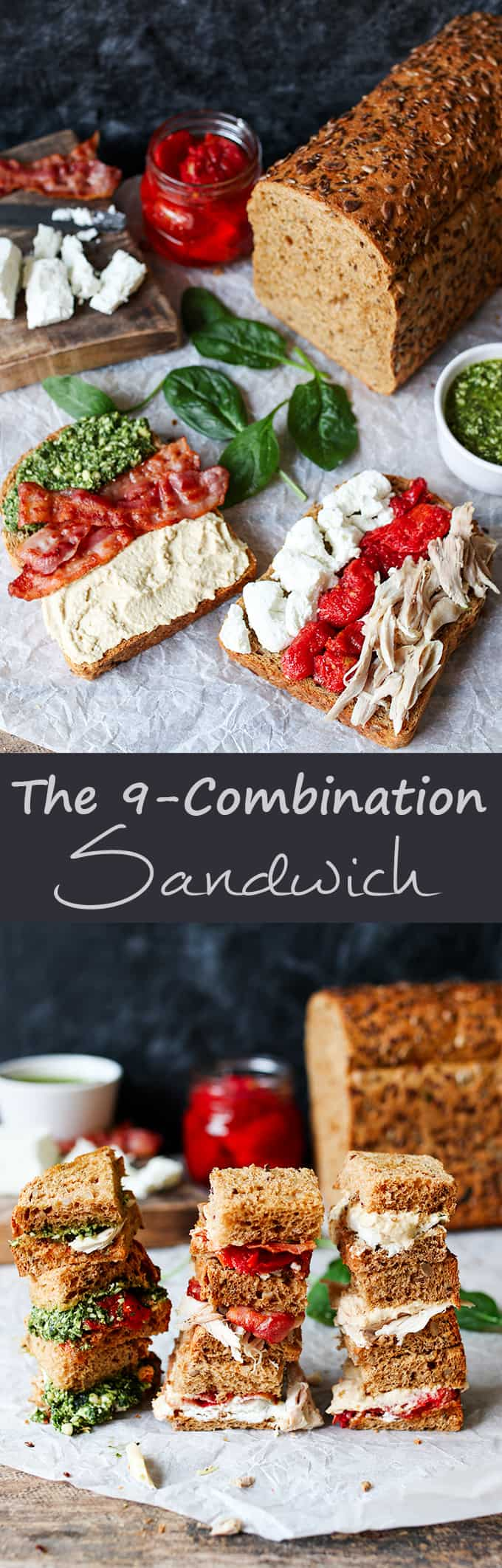 The 9-combination sandwich - Six fillings arranged in a certain way to give you 9 different bites of flavour!