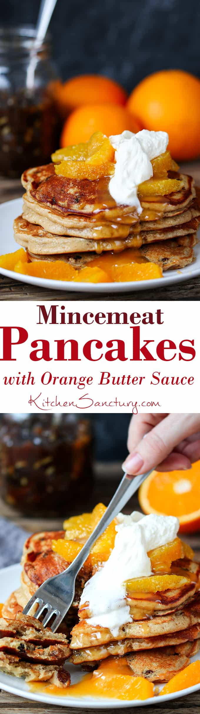 Mincemeat Pancakes with Orange Butter Sauce - A tasty breakfast to use up that leftover sweet mince pie filling!