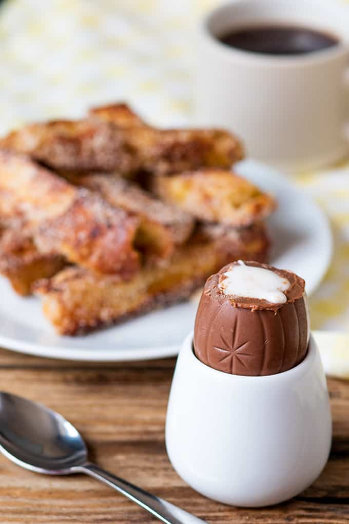 Cinnamon French toast soldiers dipped in a Creme Egg! Easter Breakfast?