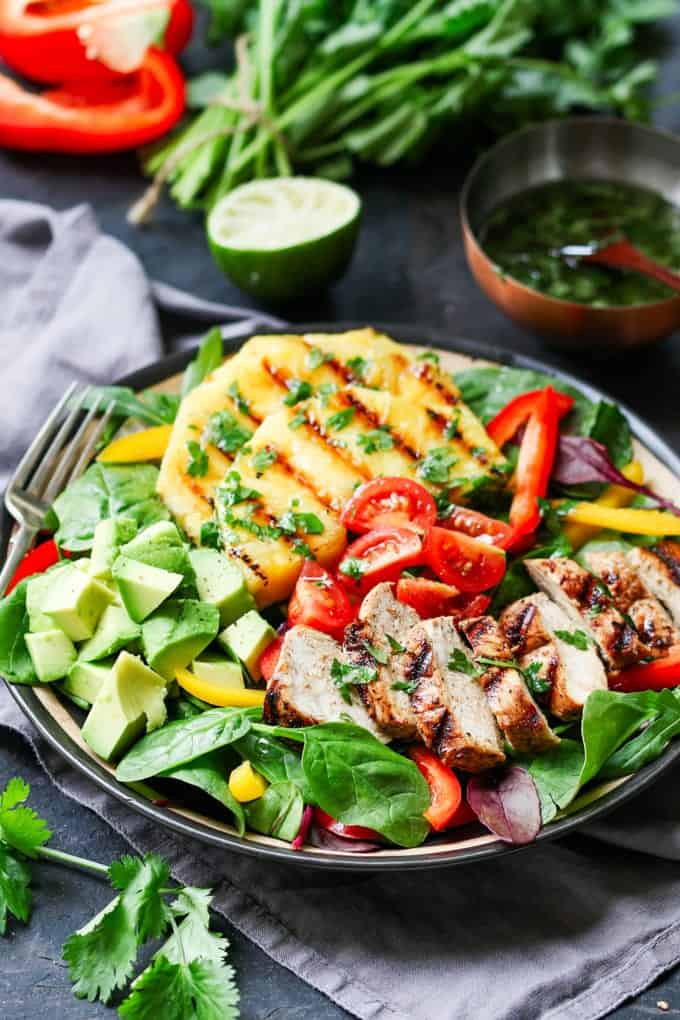 Hawaiian Chicken Salad - piles of fresh veg, grilled pineapple and a deliciously zingy vinaigrette!
