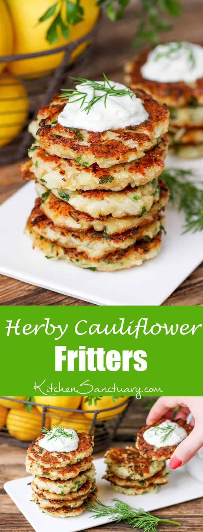 Cauliflower Fritters with Homemade Tzatziki - a lunch with a bit of a difference!
