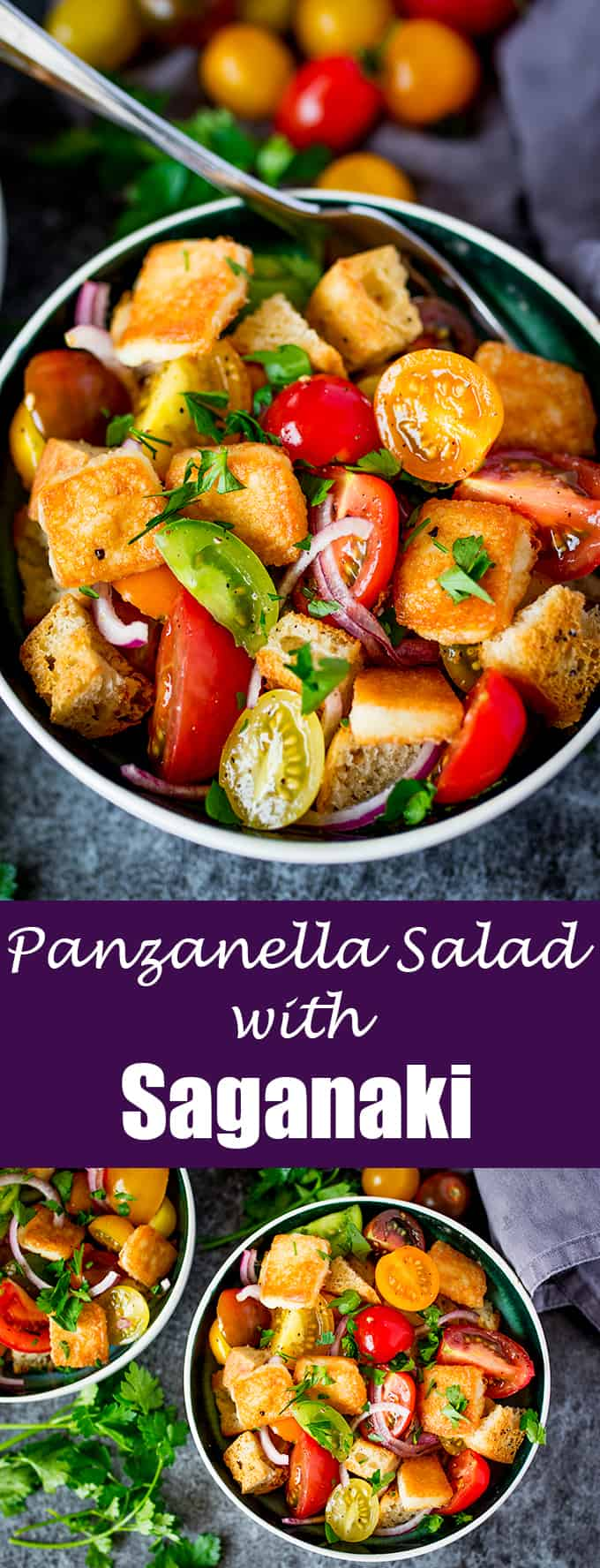 Panzanella Salad with Saganaki - Italy meets Greece in this juicy Tuscan tomato salad with crispy fried Greek cheese.