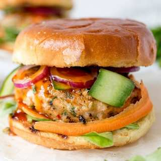 Thai-style fish burgers with sweet chilli sauce - really simple to make and they taste amazing!