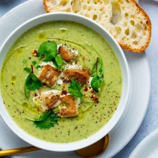 Broccoli Cheese Soup with Bacon Fat Croutons