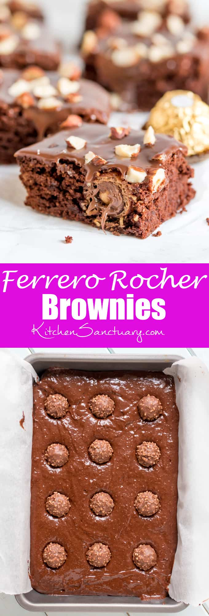 These Ferrero Rocher Brownies are the ultimate treat to go with your afternoon cup of coffee!