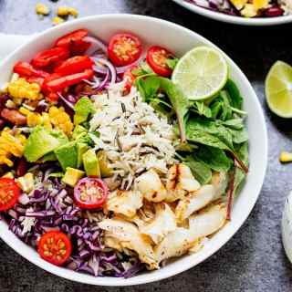 Fish Taco Bowl with Zingy Yogurt Dressing