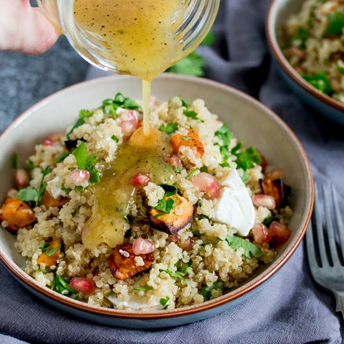 Warm Quinoa And Goat's Cheese Salad With Honey Mustard Vinaigrette