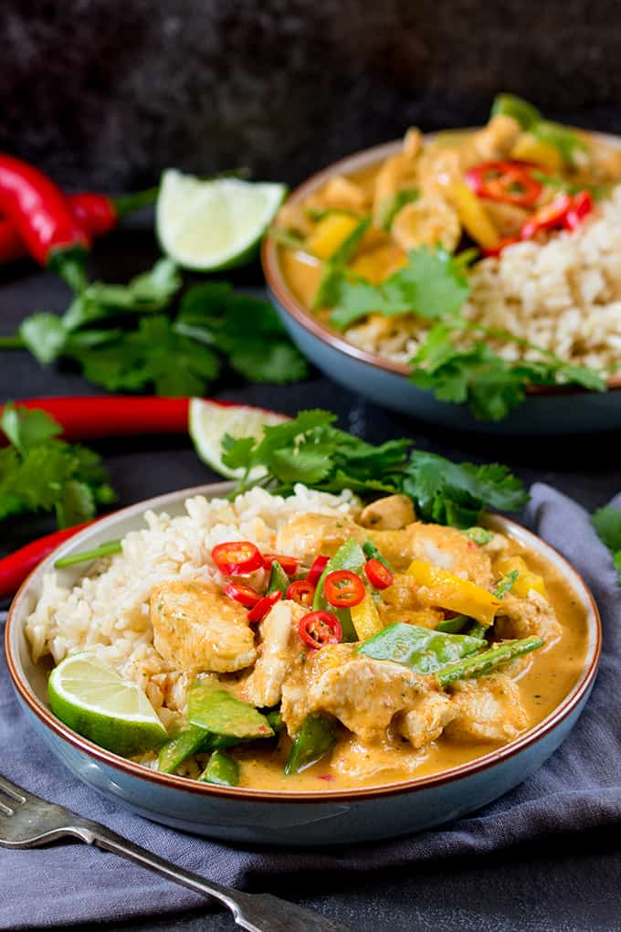 The homemade curry paste for this Spicy Healthier Red Thai Chicken Curry is easy and packed with flavour!