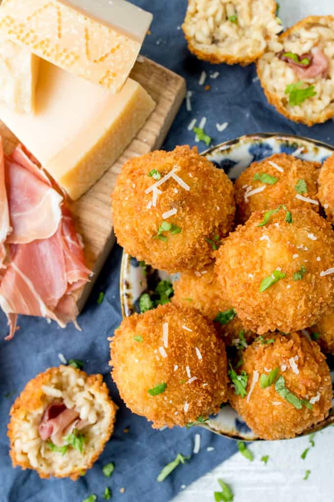 Arancini makes such a great appetiser or party food - these ones are made with creamy Grana Padano Cheese and Stuffed with Prosciutto di San Daniele!