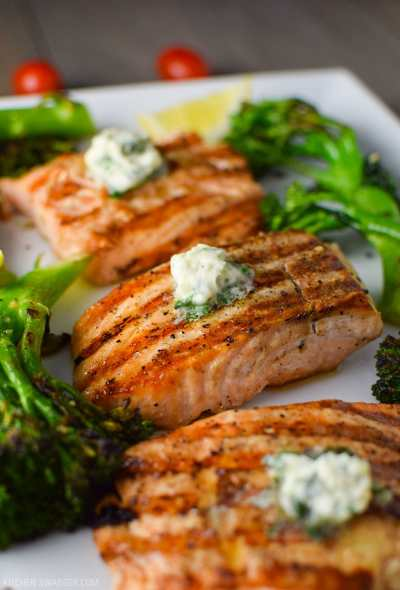 Easy Grilled Salmon with Basil Butter & Broccolini Recipe | Kitchen Swagger