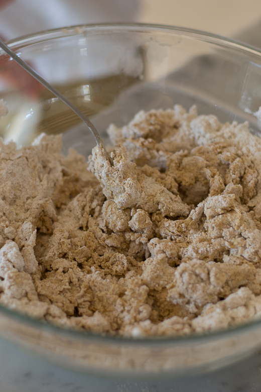 flour and wet ingredients