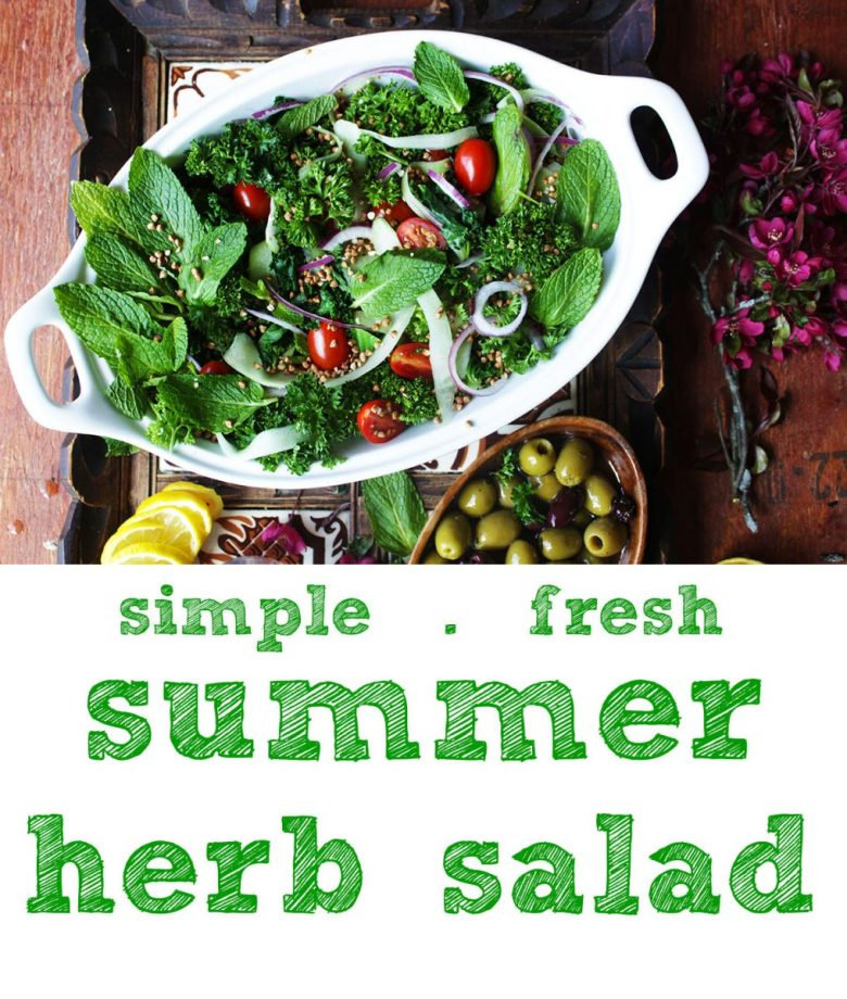 if you LOVE a lush, bright flavors, this summer herb salad (easy tabblouleh) is totally for you. It's healthy and quick and so good. Want something a little heartier? Throw some chickpeas (or your fave protein) on top.