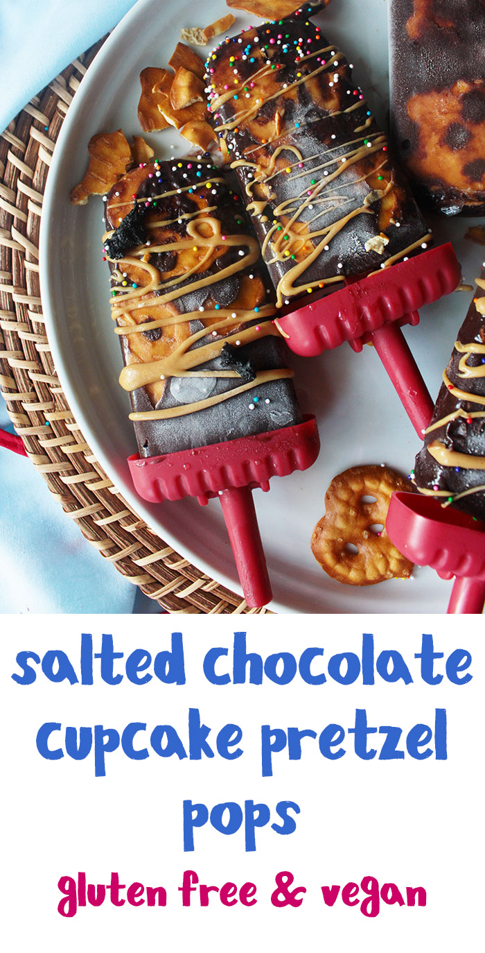 These easy salted chocolate cupcake pretzel pops only require four ingredients. Vegan.