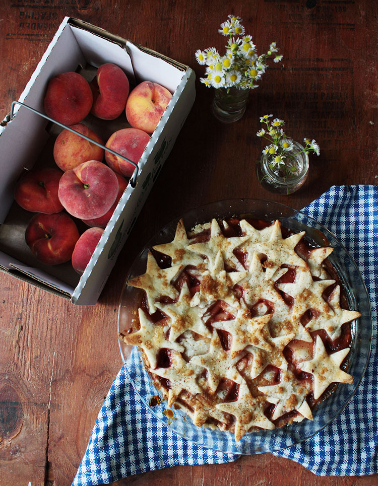Juicy peaches and summer cherries make the perfect combination for a stone fruit pie. Vegan with a gluten free crust.