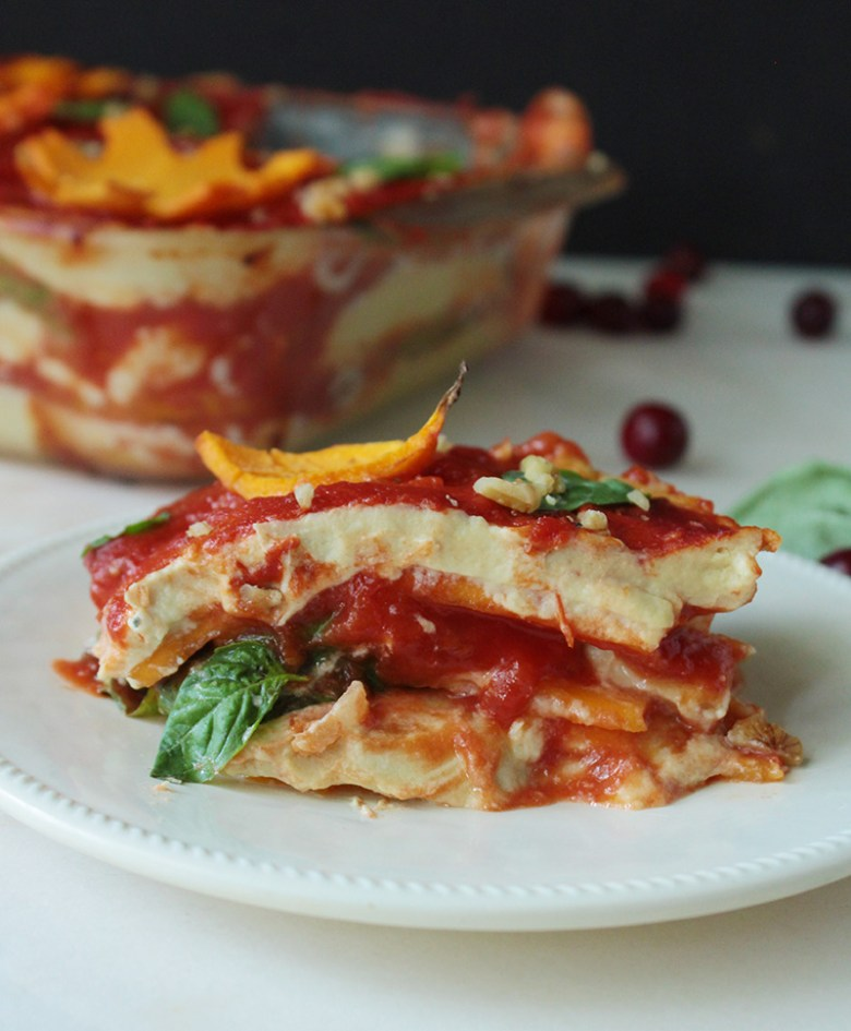 An amazing vegan, gluten free lasagna made with lighter butternut squash noodles and part-skim cashew ricotta. Tastes just like mom's.