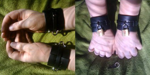 Pet poses in the Bondage Basics Cuffs from KinkLab, both with and without added padlocks.