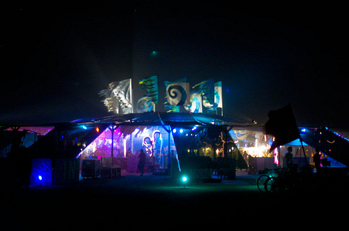 Center Camp at night. Black Rock City, 2011. Photo by lemur2.