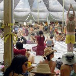 A performance inside Center Camp. Black Rock City, 2007. Photo by Elaine.