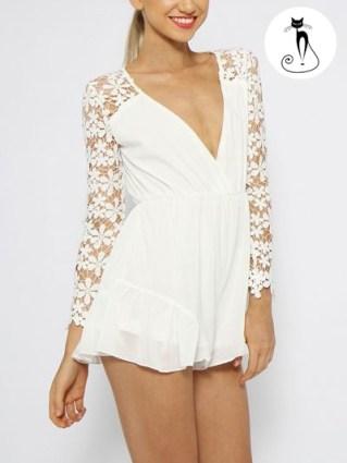 Белый комбинезон с кружевными рукавами -26 модных летних комбинезонов - лето 2014