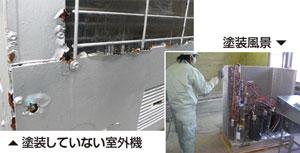 今までの防食塗装を凌駕する新塗装 空調機の超防食塗装