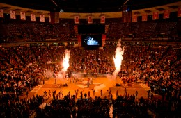 Pyrotechnic display during the player introductions at  the UT - Oklahoma State game at the Frank Erwin Center on Wednesday February 4, 2015.  JAY JANNER / AMERICAN-STATESMAN