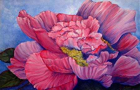 Peony Oil Painting by Kerry Jo Montoya