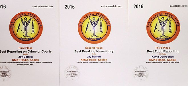 KMXT News Recognized for 2015 Coverage of Pletnikoff Incident, Chiniak Wildfire and a Family Bakery