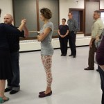 Dance class in progress. Loewen at forefront, far left, dancing with a student. Kayla Desroches/KMXT