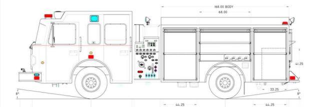 A schematic of a Spartan Motors pumper truck.