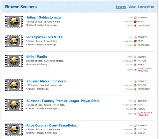 scraperwiki screenshot