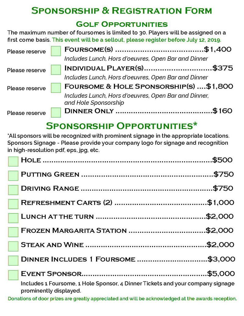 Knights of York 22nd ANNUAL CHARITY GOLF OUTING & DINNER Sponsorship & Golf Opportunities