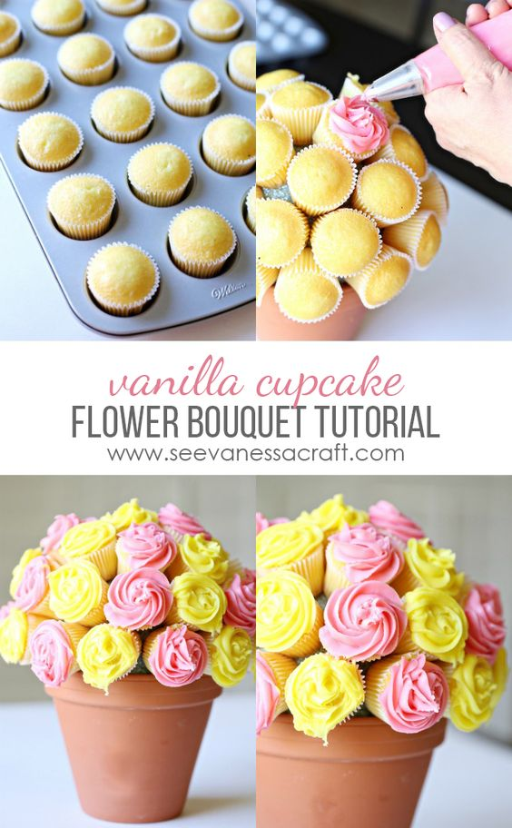 Pin Ups and Link Love: Cupcake Roses Bouqet Tutorial | knittedbliss.com