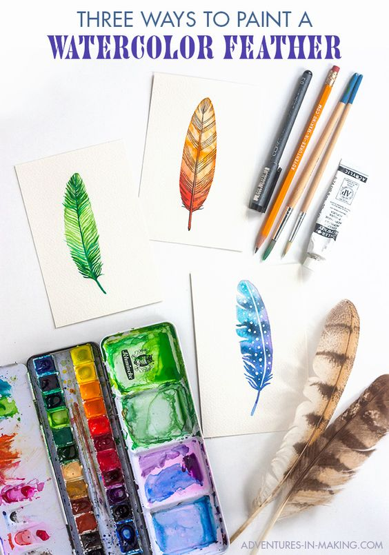 Pin Ups and Link Love: How to Paint Watercolor Feathers| knittedbliss.com