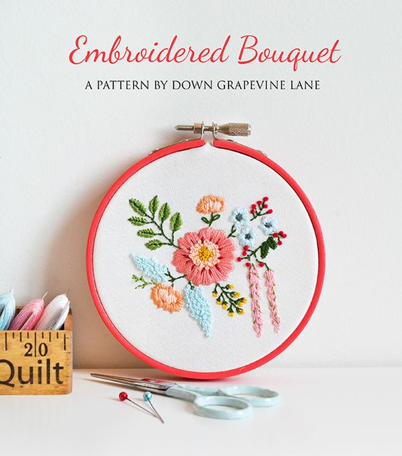 Pin Ups and Link Love: Embroidery bouquet | knittedbliss.com