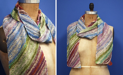 This lovely summer scarf highlights self-striping yarn in a new way