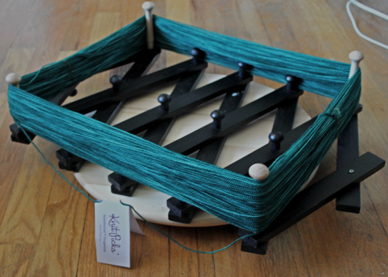 make your own yarn swift from thrift store materials