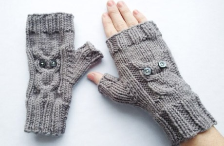 Knit Sweet Fingerless Gloves with Owl Cables