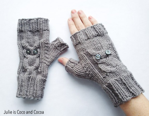 fingerless gloves with owl knitting pattern