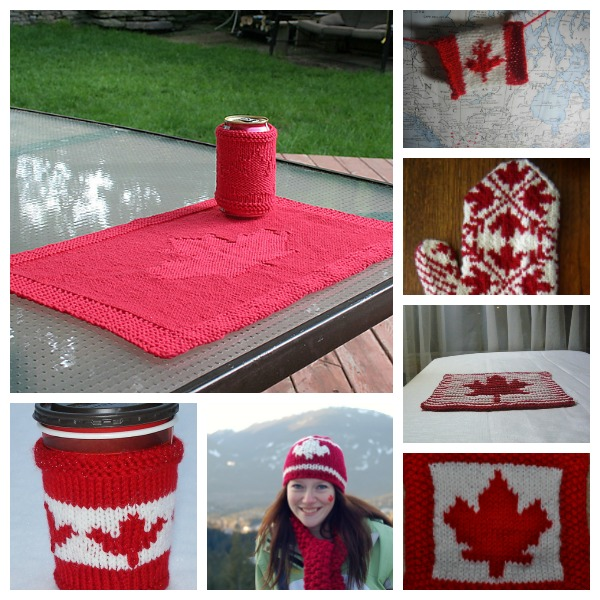 Knitting patterns to celebrate Canada Day.