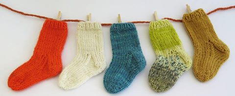 knit baby socks for the UK hand knitting association stocking appeal