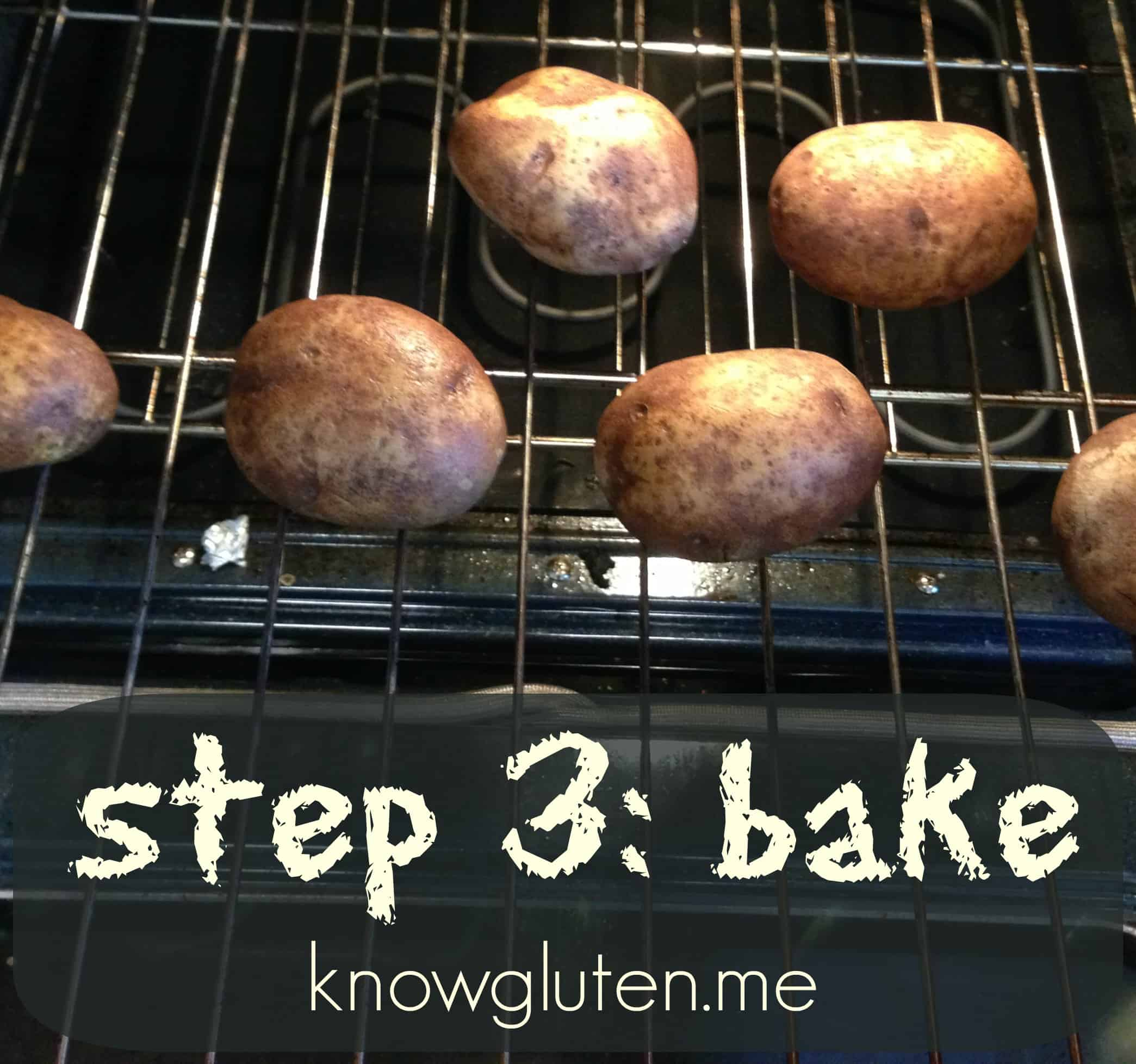 How to make loaded baked potatoes a step by step guide from you need to give it somewhere to go or your potatoes will explode if desired you can sprinkle your potatoes with sea salt after youve pierced them ccuart Image collections