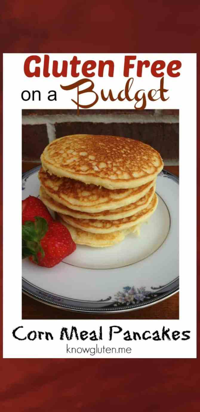 Gluten Free on a Budget, cornmeal pancake recipe and money saving tips from knowgluten.me