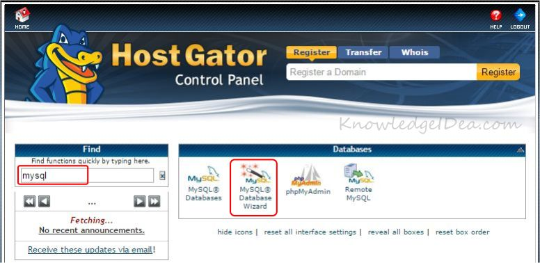 How to Create MYSQL Database Using cPanel step 1
