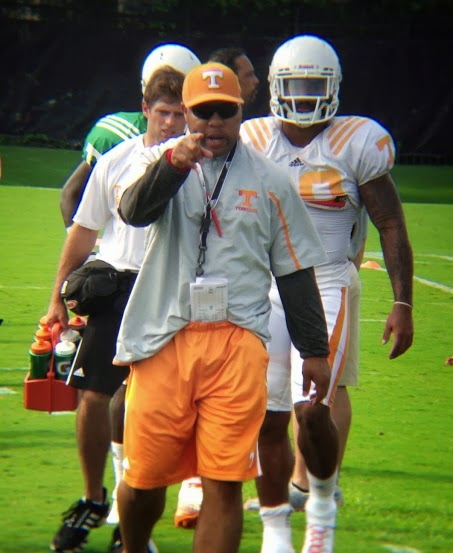 Tennessee running backs coach Robert Gillespie at practice on Aug. 22, 2013. (Photo by Evan Woodbery)