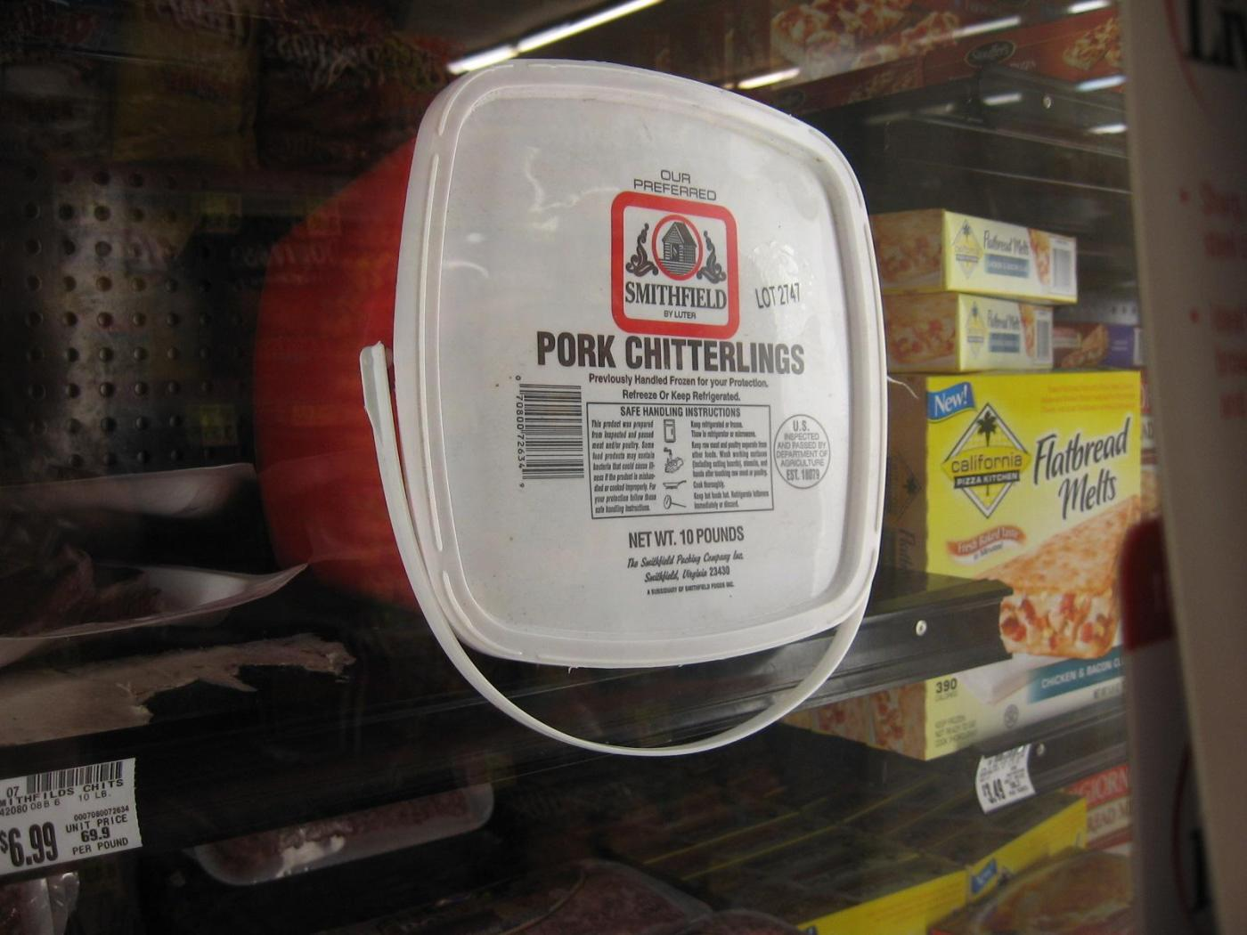 Pork chitterlings at the Kroger in Knoxville known as Fellini Kroger